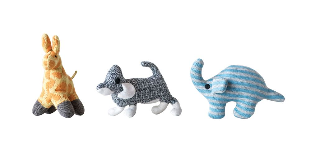 Set of Three Cotton Elephant Giraffe Dog Knit Rattles in Various Colors