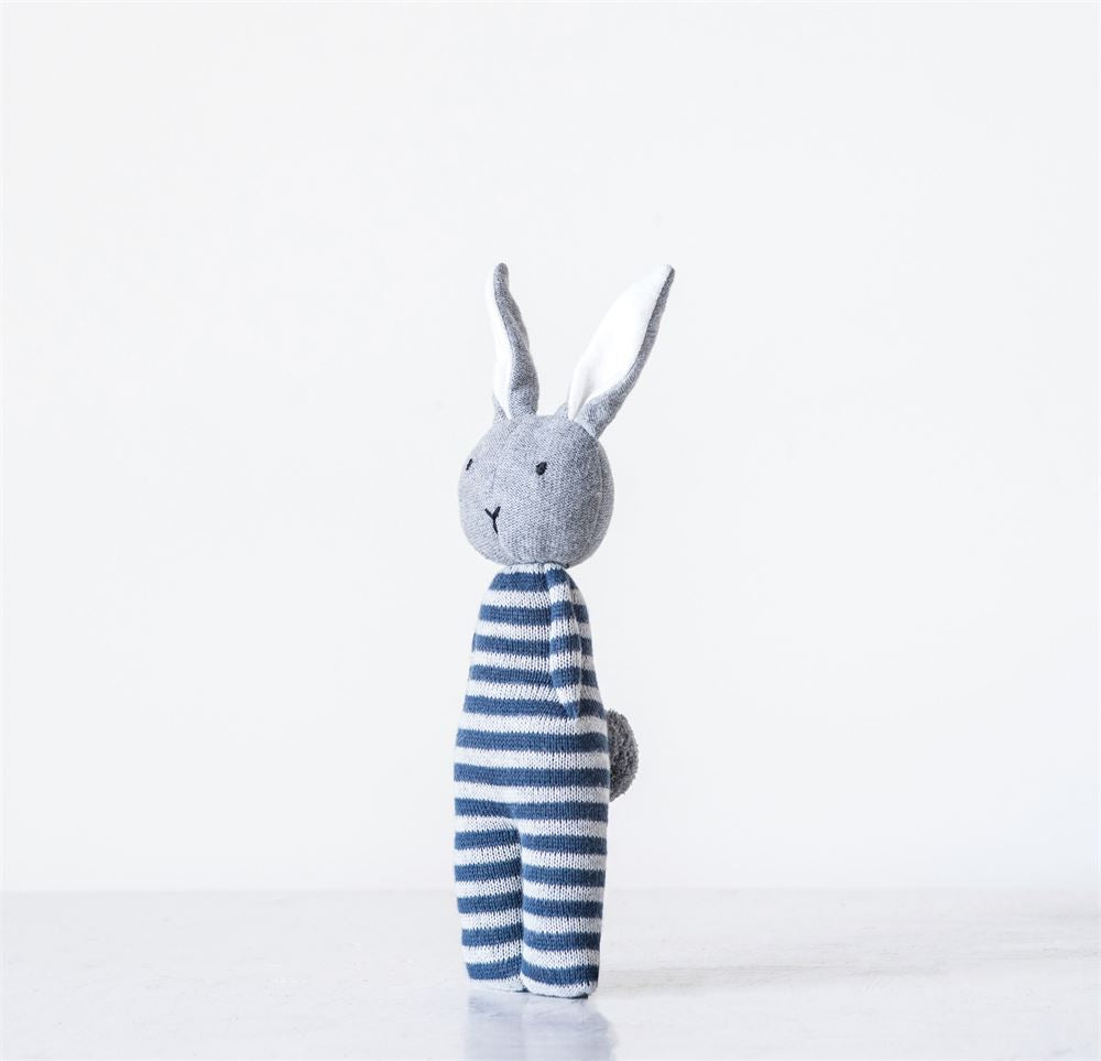 Cotton Bunny Knit Rattle in Blue
