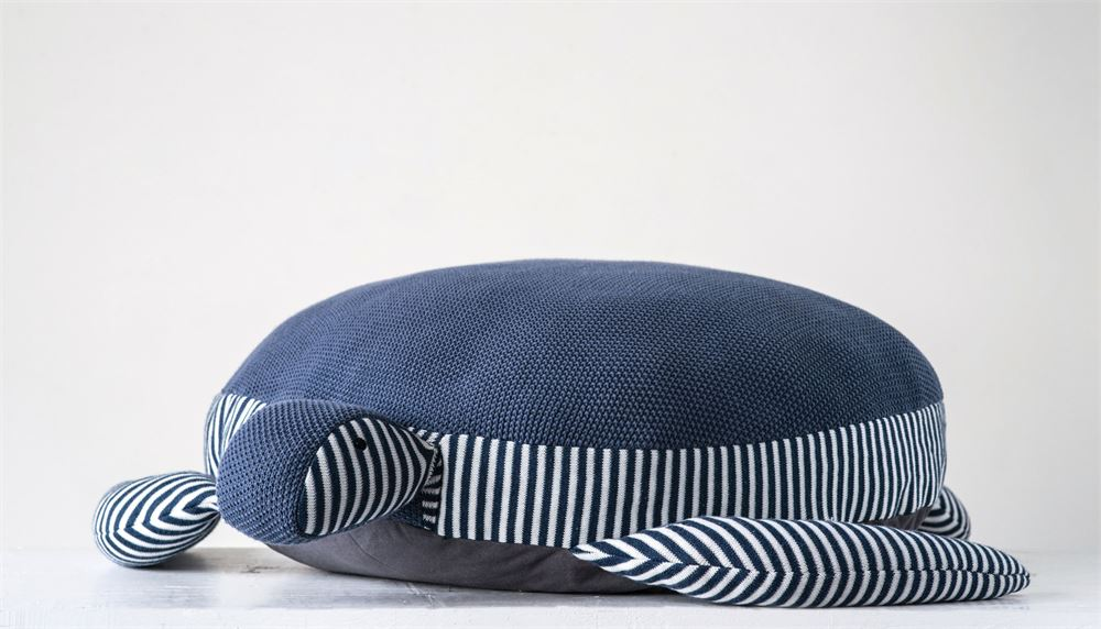 Cotton Turtle Knit Pouf in Navy and Stripes