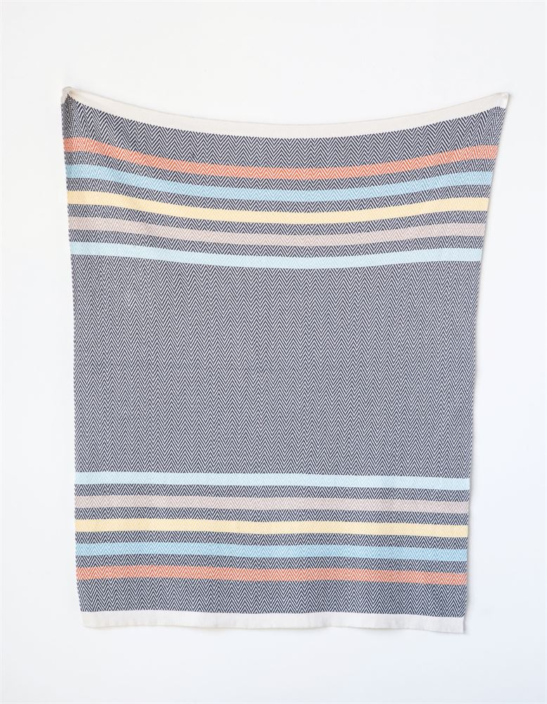 Cotton Multi Color Stripes Knit Baby Blanket in Grey