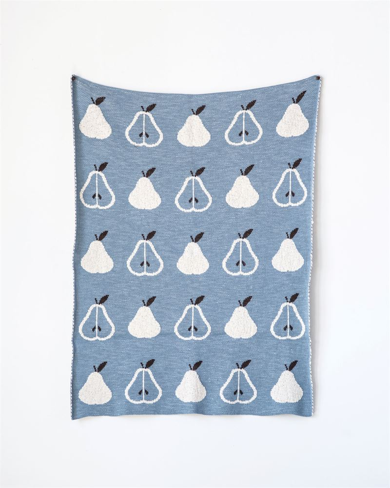 Cotton Pears Pattern Knit Baby Blankets in Blue