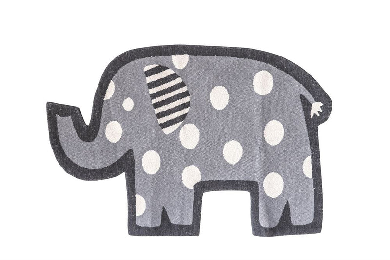 Cotton Knit Elephant Shaped Rug, Grey with White Dots