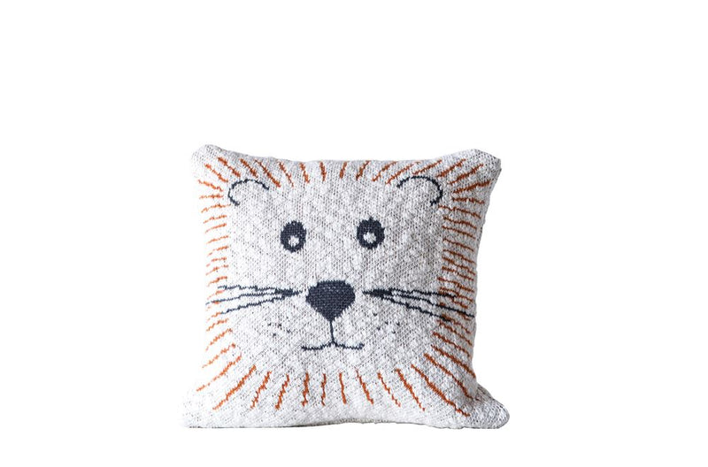 Cotton Lion Face Knit Pillow in White