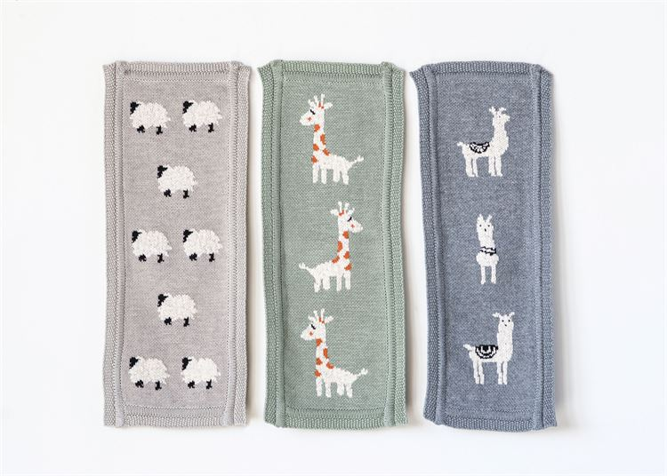 Set of Three Cotton Grey Sheep / Green Giraffe / Blue Llama Burp Cloth in Various Colors