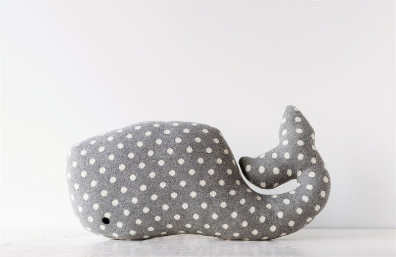 Cotton Whale Shaped Pillow in Rose