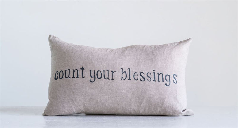 "Cotton ""Count Your Blessings"" Lambs with Crowns Printed Pillow in Tan"