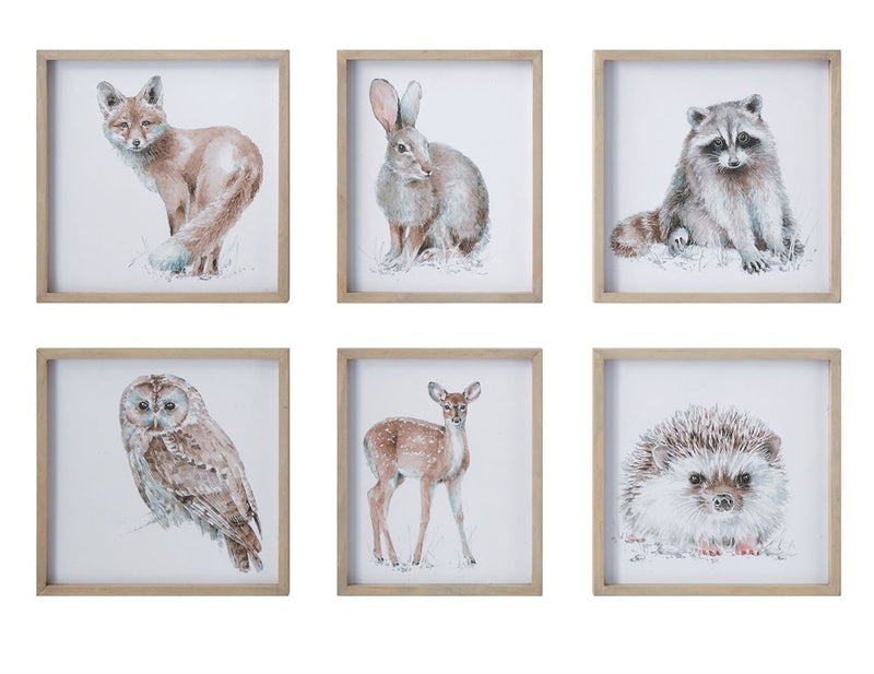 Set of Six Wood Framed Fox, Rabbit, Raccoon, Owl, Deer, Porcupine Wall Decor