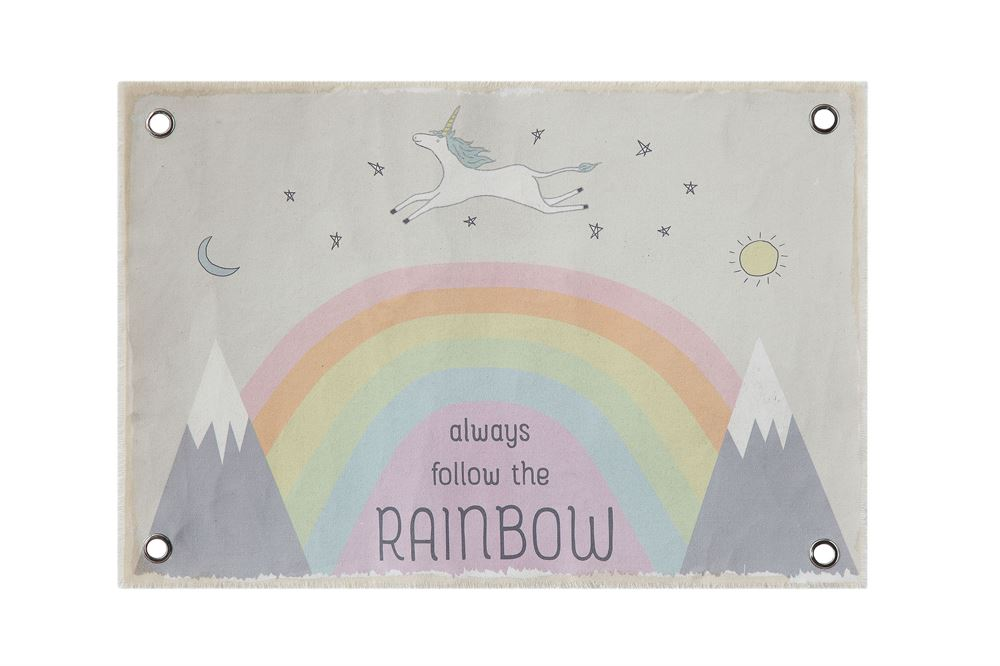 "Canvas ""Always Follow the Rainbow"" Wall Decor with Rainbows and Grommets"
