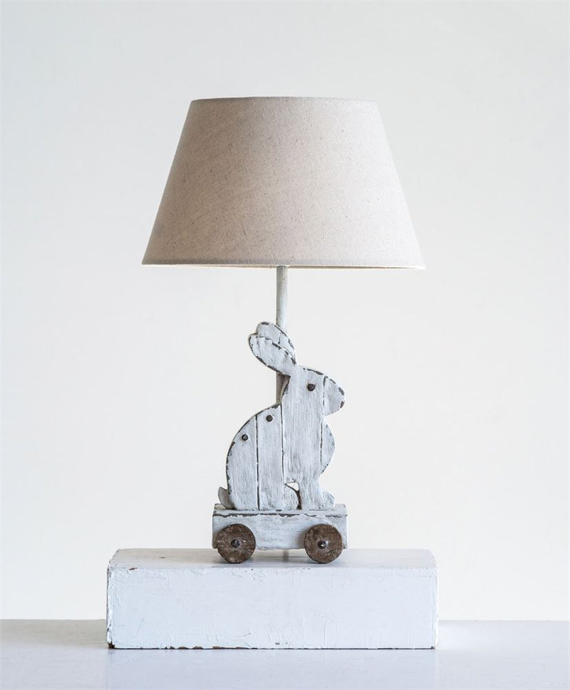 Resin Rabbit Table Lamp on Wheels with Linen Shade in Antique White