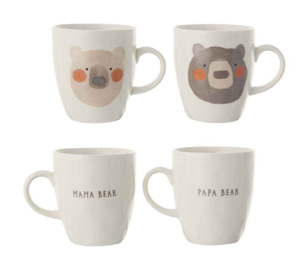 Set of Four Stoneware Mama Bear and Papa Bear Matching Mugs
