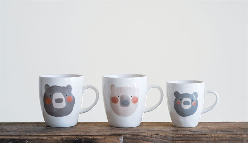 Stoneware Baby Bear Mug in Grey and White