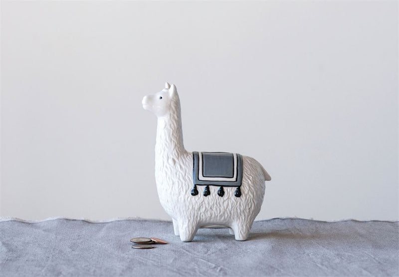 Stoneware White Llama Piggy Bank in White and Grey