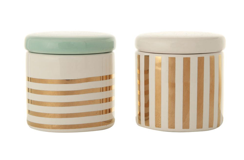 "Set of Two Ceramic ""Baby's First Tooth"" Decorative Containers with Lid and Gold Electroplating"