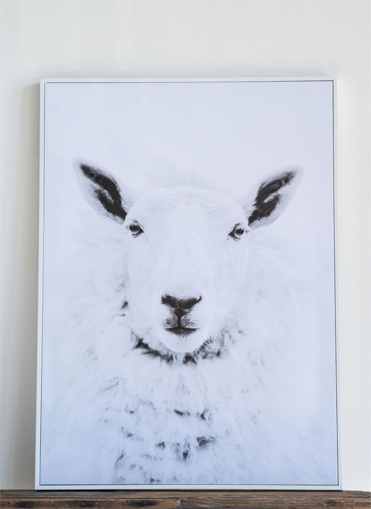 Natural Wood Framed Sheep Wall Decor