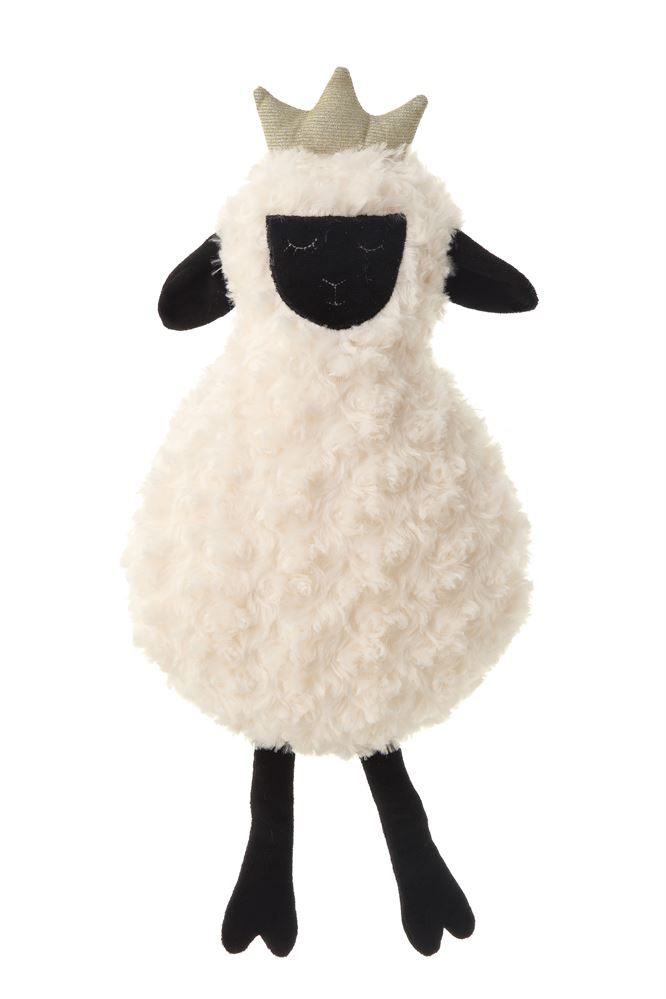 Cotton Sheep with Crown Knit Plush Toy in White
