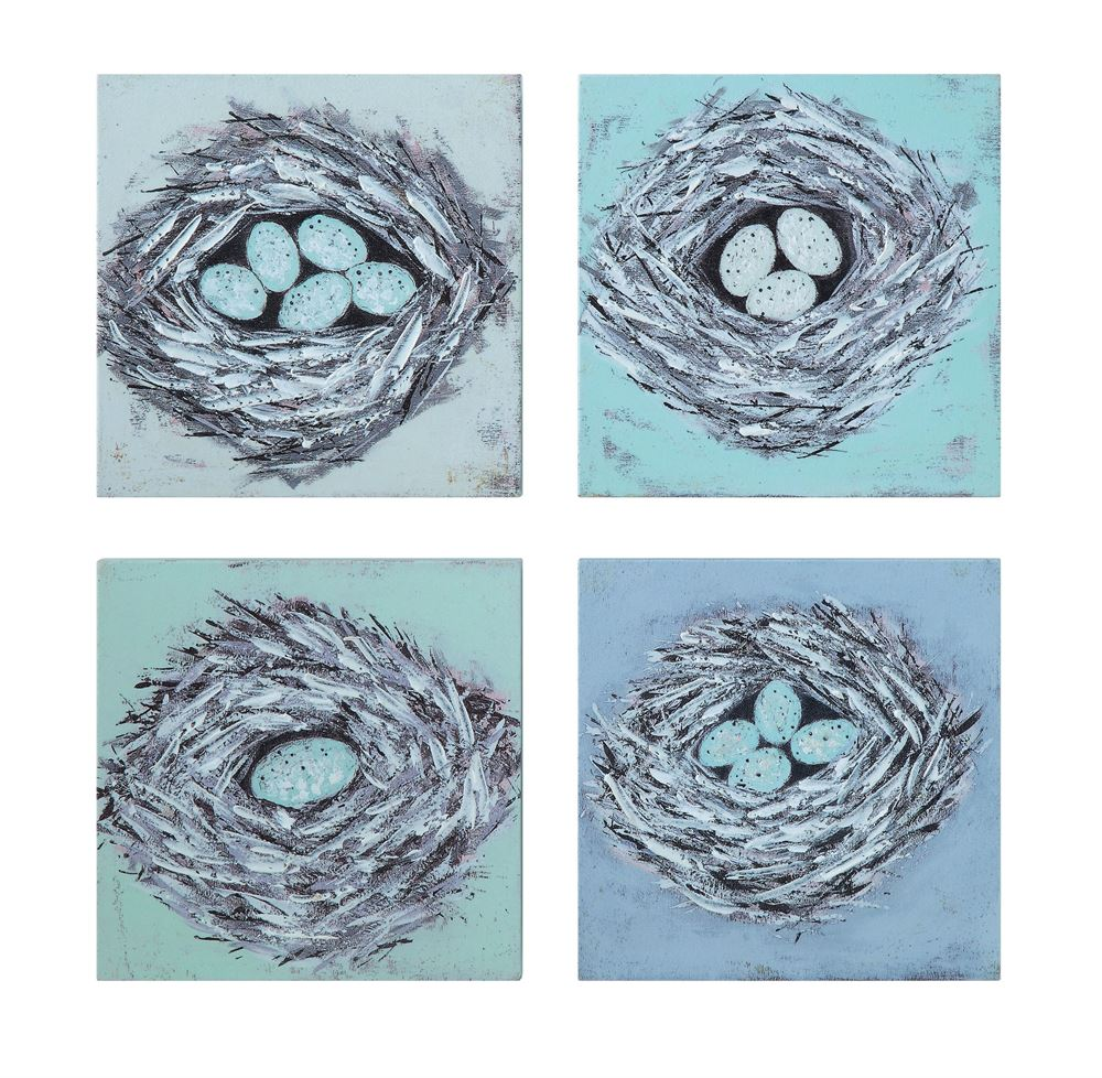 Set of Four Wood Bird's Nest Wall Decor in Green and Blue