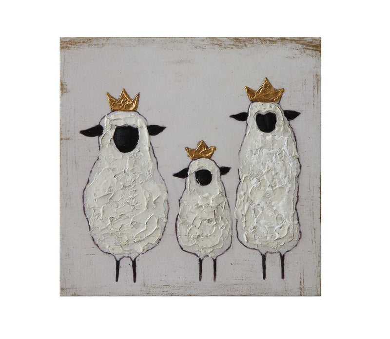 Wood Sheep and Crowns Square Wall Decor