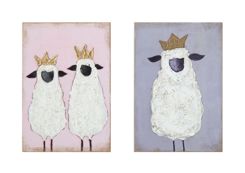 Set of Two Wood Wall Decor featuring Sheep with Crowns
