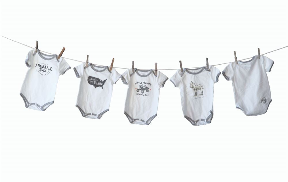"Cotton ""Bed Head..."" Baby Onesies in White and Grey"