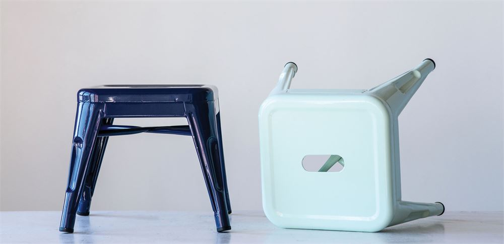 Metal Stool in Dark Blue