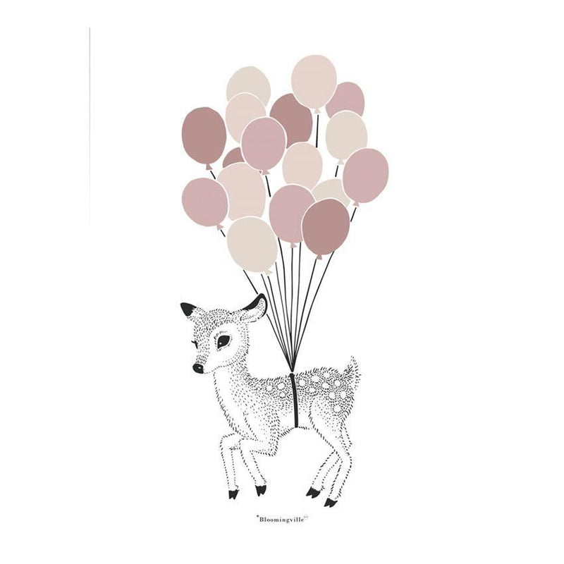 Fawn With Balloons Poster - Wall Decor