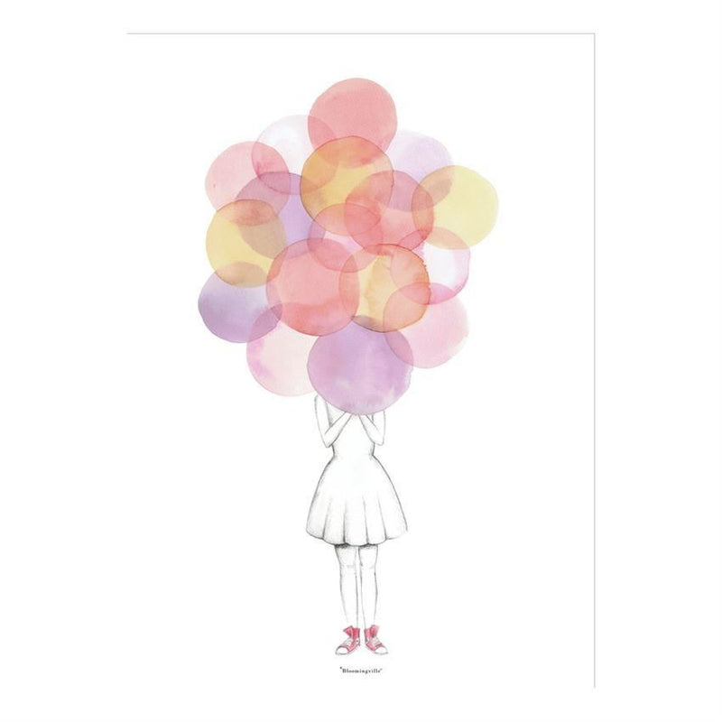 Girl With Balloons Poster - Wall Decor