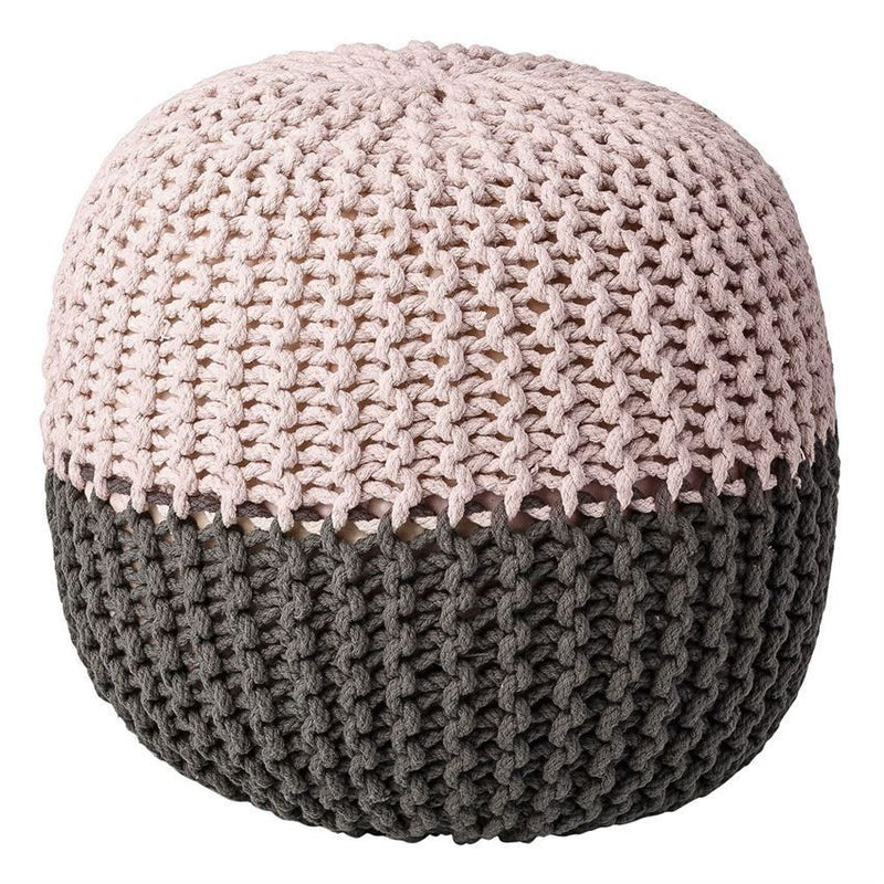 Grey And Nude Cotton Pouf - Furniture