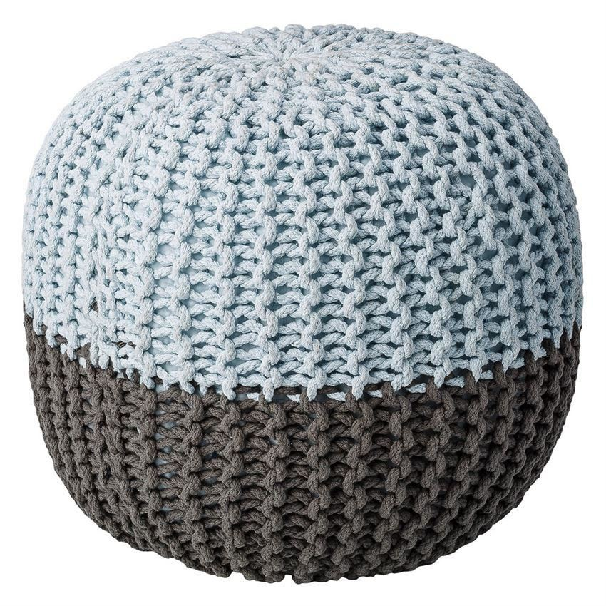 Grey And Sky Blue Cotton Pouf - Furniture