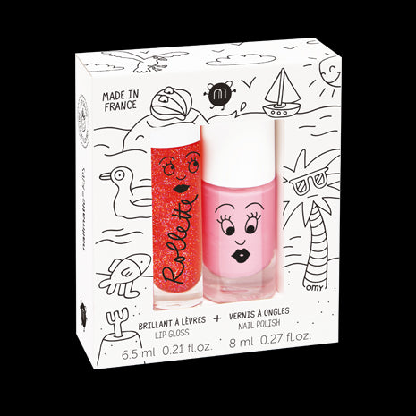 Set of Two Rollette & Nail Polish Gift Set - Holidays (Cookie / Strawberry)