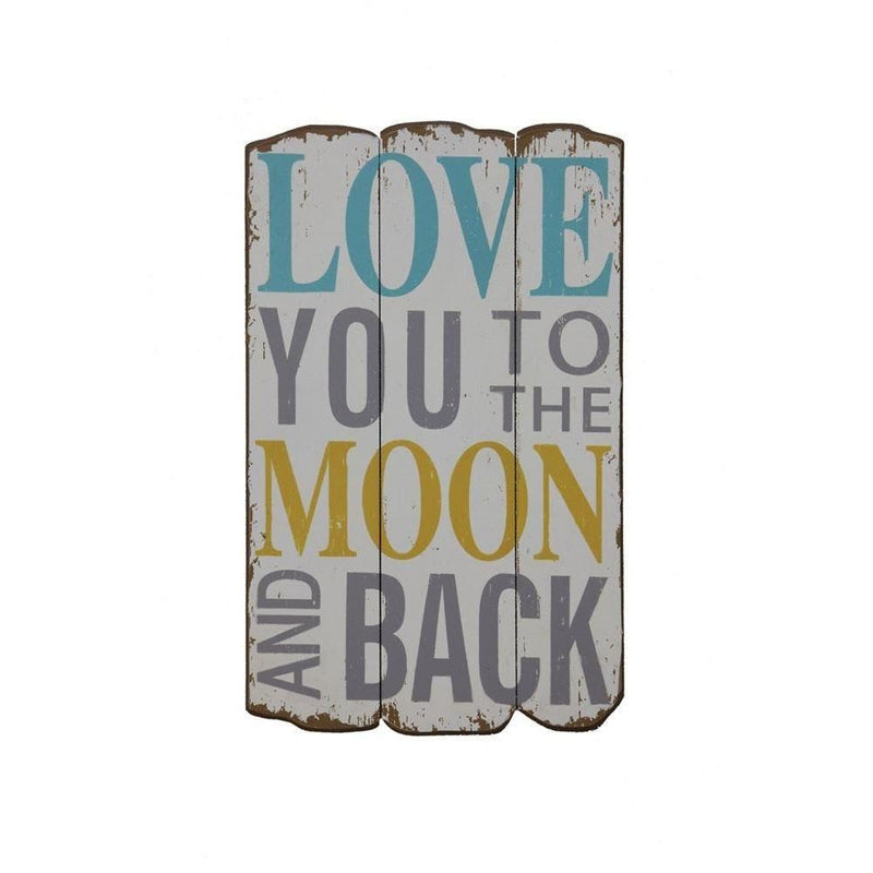 "Wood ""I Love You To The Moon And Back"" Wall Decor in Navy with Vintage Border"