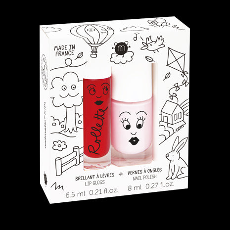 Set of Two Rollette & Nail Polish Gift Set - Kid's Cottage (Bella / Cherry)
