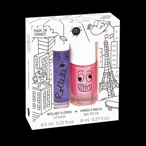 Set of Two Lip Gloss & Nail Polish Gift Set - Lovely City (Kitty / Blackcurrant)