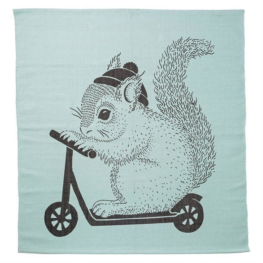 Mint Cotton Rug With Squirrel On Scooter