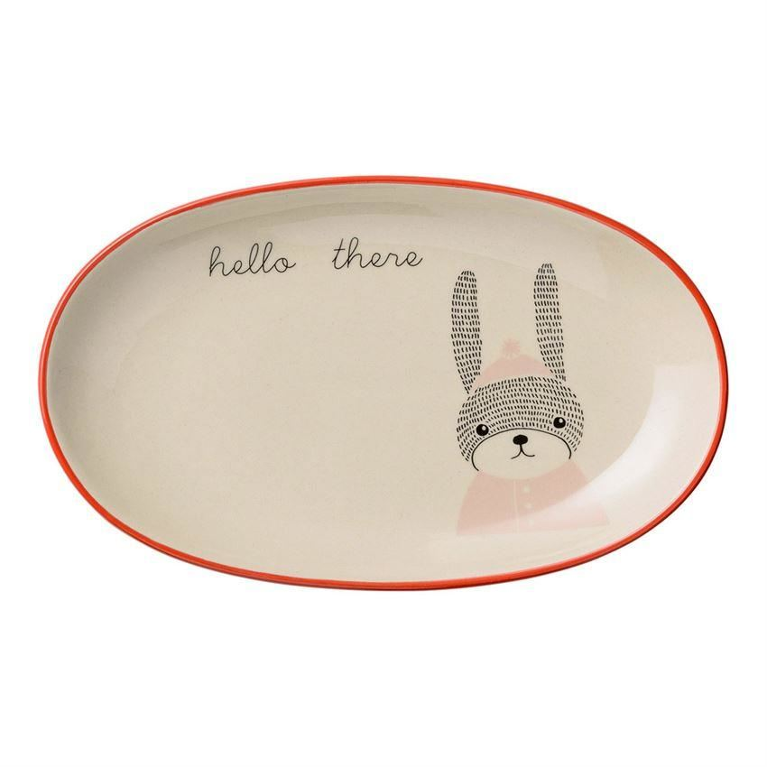 Mollie Oval Plate With Rabbit - Plates