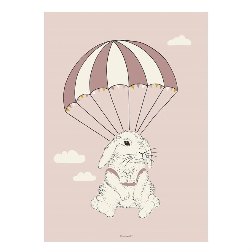 Parachuting Bunny Poster - Wall Decor