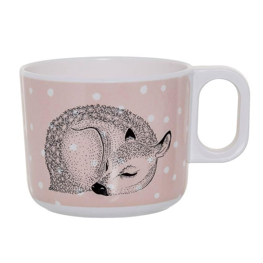 Powder And White Cup With Sleeping Deer - Cups