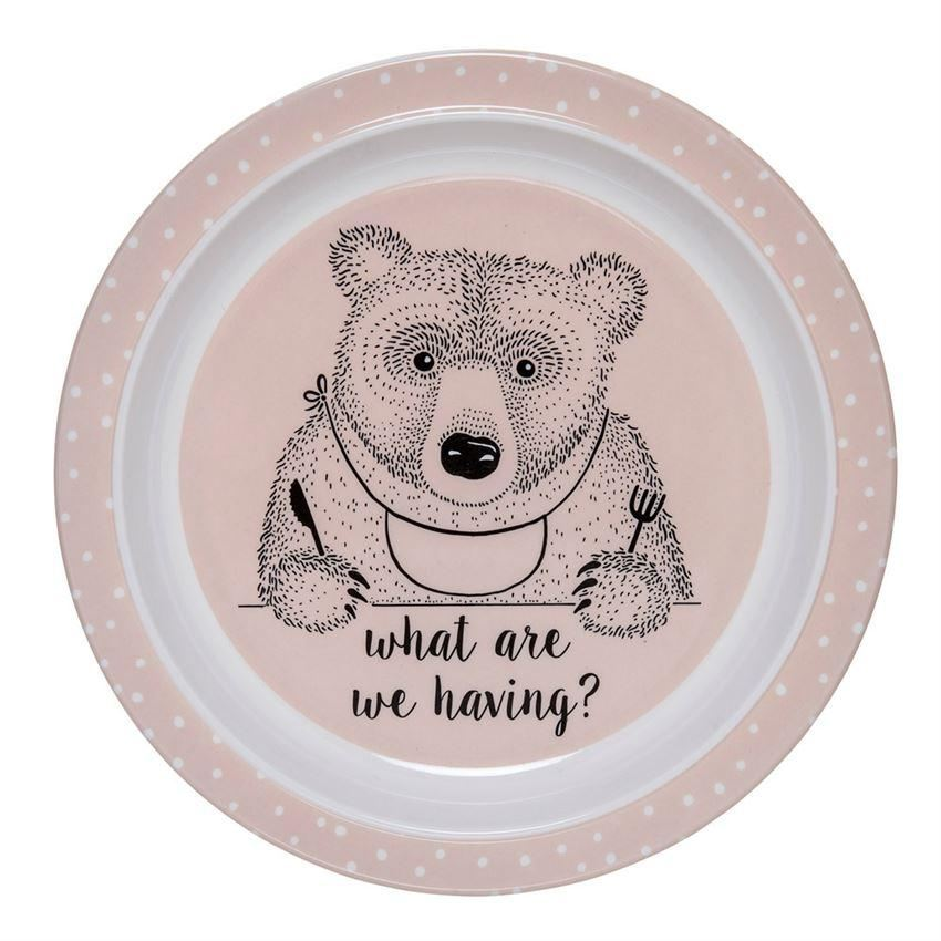 Powder And White Plate With Bear - Plates