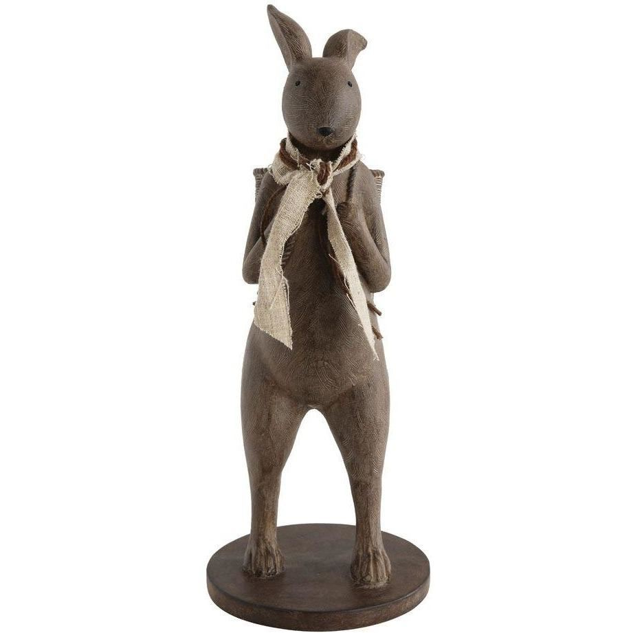Rabbit Statue With Basket Decoration In Distressed Brown - Decor