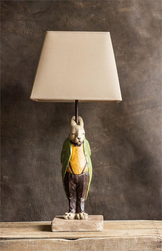 Resin Hare Lamp With Shade - Table Lamp