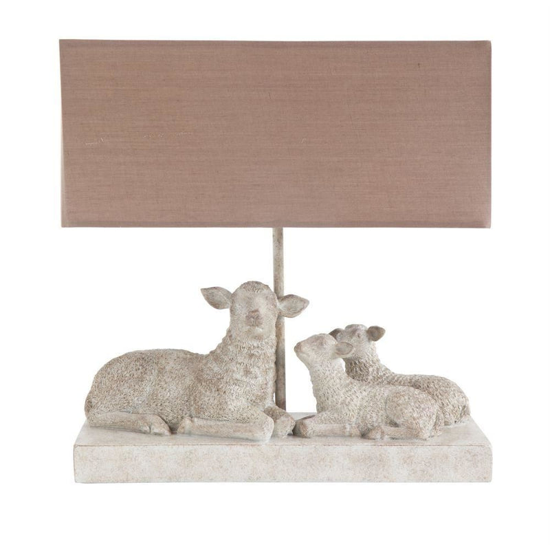 Resin Sheep Lamp With Tan Shade - Table Lamp