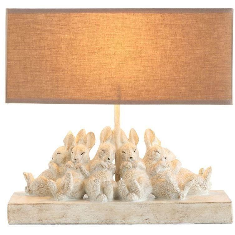 Resin Table Lamp With Rabbits & Linen Shade - Decor