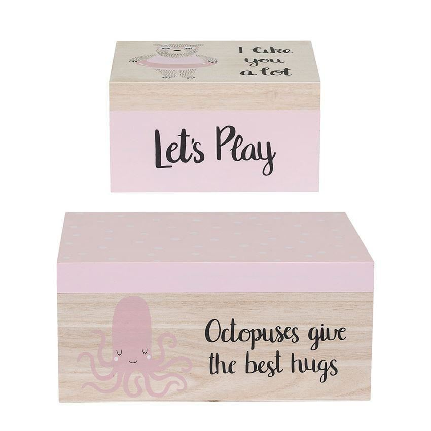 Rose Wood Storage Box Set - Decor