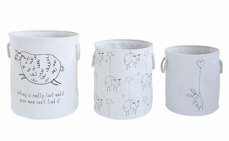 Set Of Canvas Hamper Baskets With Animals - Decor