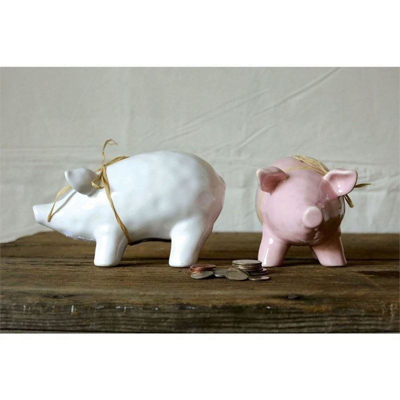 Set Of Ceramic Piggy Banks 2 Colors - Decor