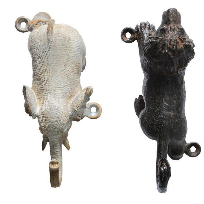 Set Of Elephant And Lion Pewter Wall Hook - Decor