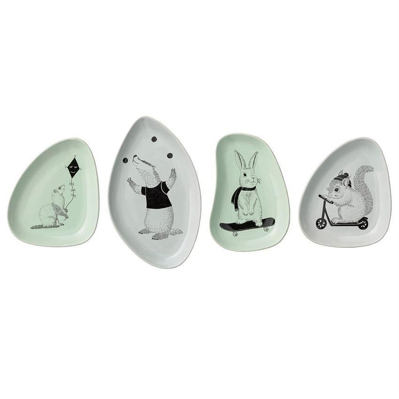 Ceramic Rabbit Face Dish in Grey