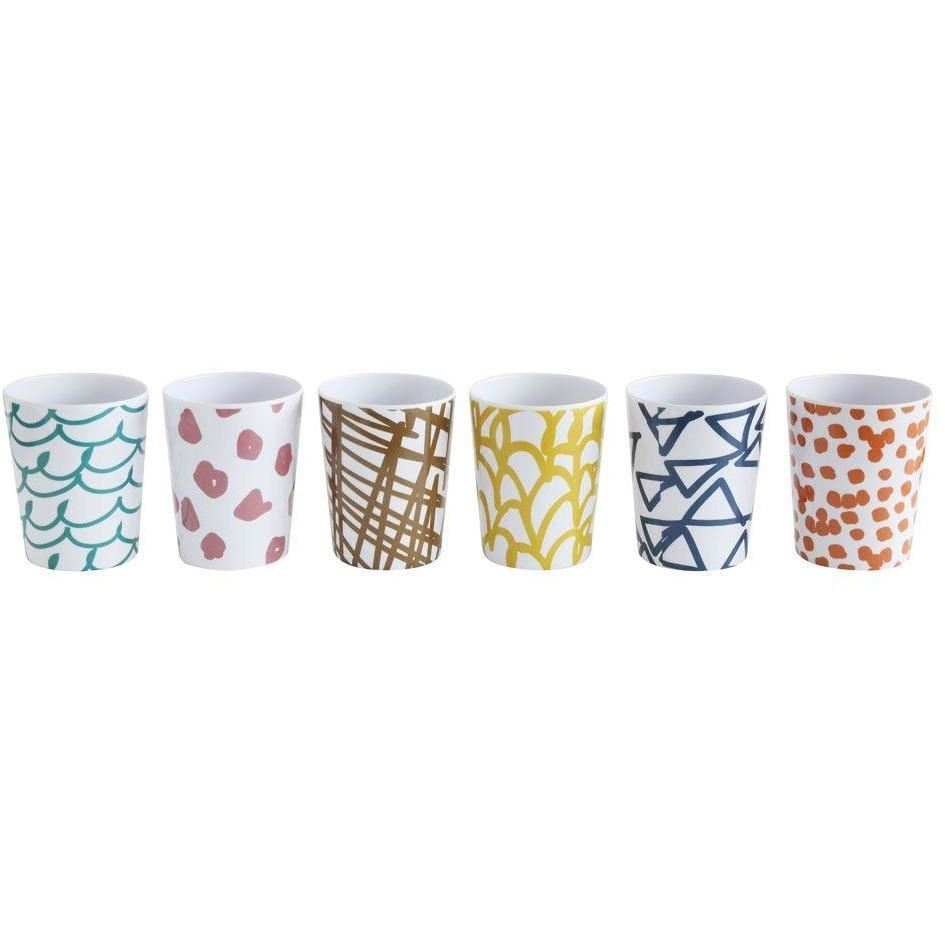 Set Of Melamine Cups With Paint Patterns - Cups
