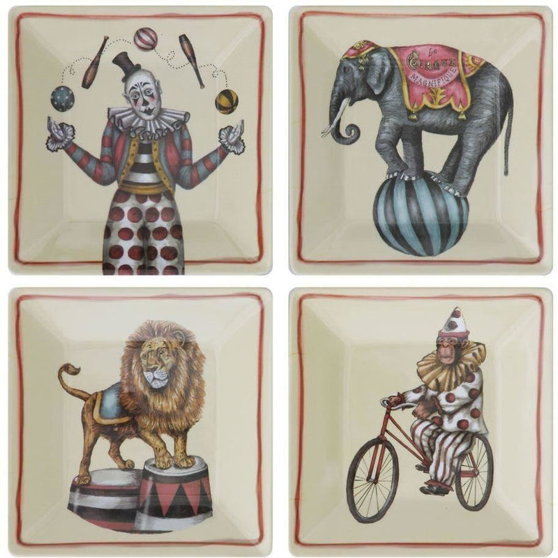 Set Of Melamine Plates With Vintage Circus Image - Plates