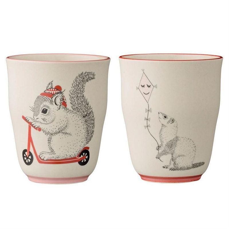 Set of Two Otter / Bunny Rabbit Marius Cups in Cream
