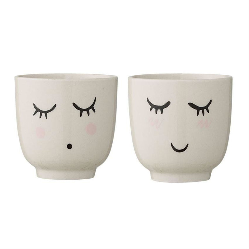 Set Of Stoneware Cups In White - Cups